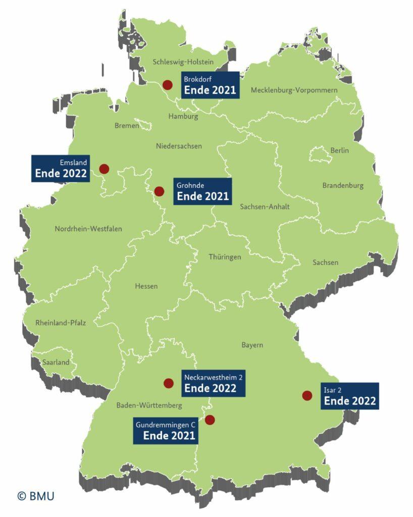 Countdown bis zum Atomausstieg: AKW-Standorte in Deutschland